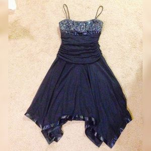 Macy's Navy blue sequin prom formal dress